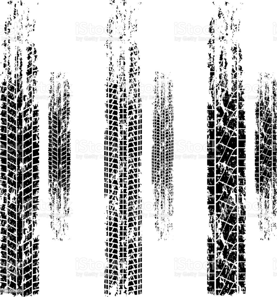 Tire tracks grunge set vector art illustration