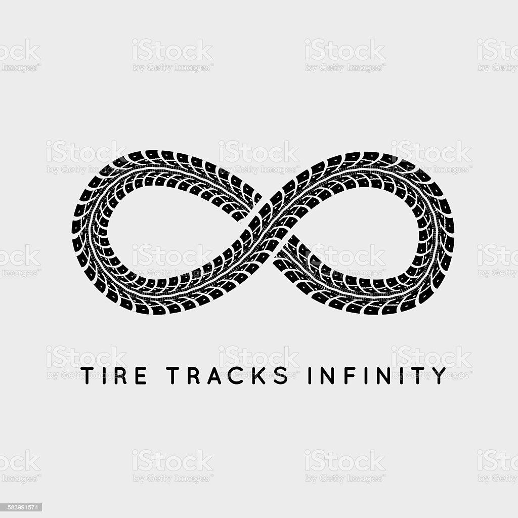 Tire Tracks in Infinity Form vector art illustration