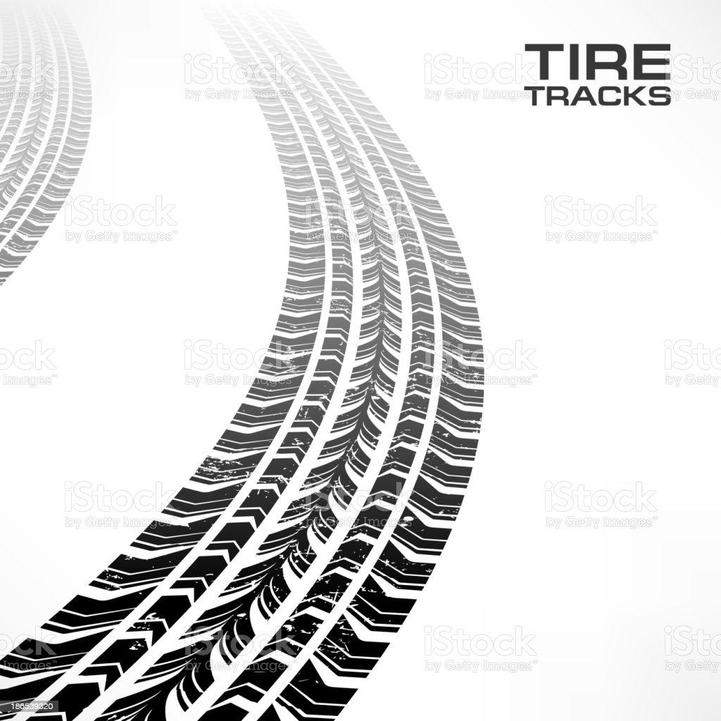Tire tracks on white vector art illustration