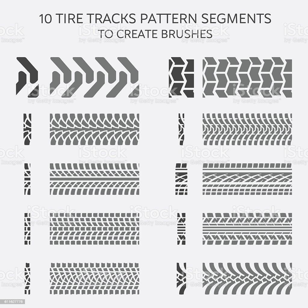 Tire tracks pattern segments to create brushes vector art illustration
