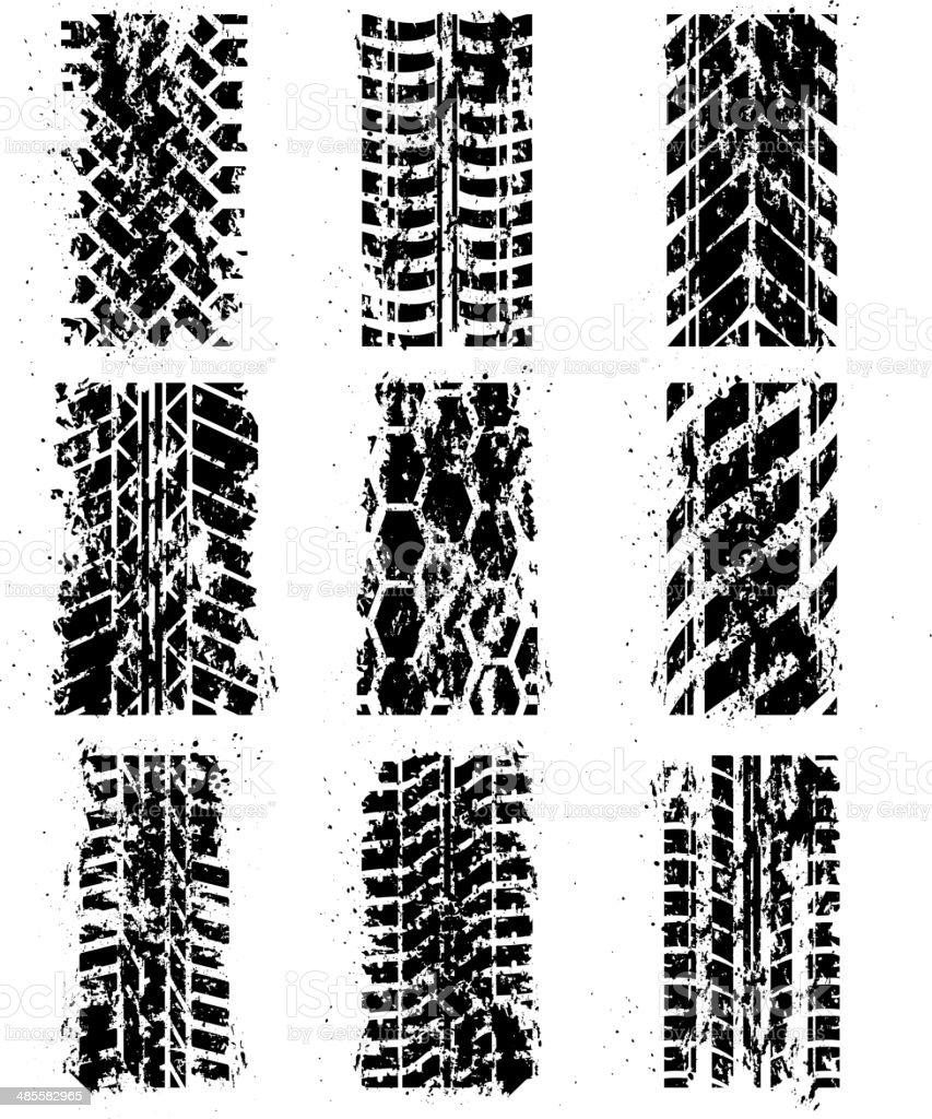 Tire tracks set royalty-free stock vector art