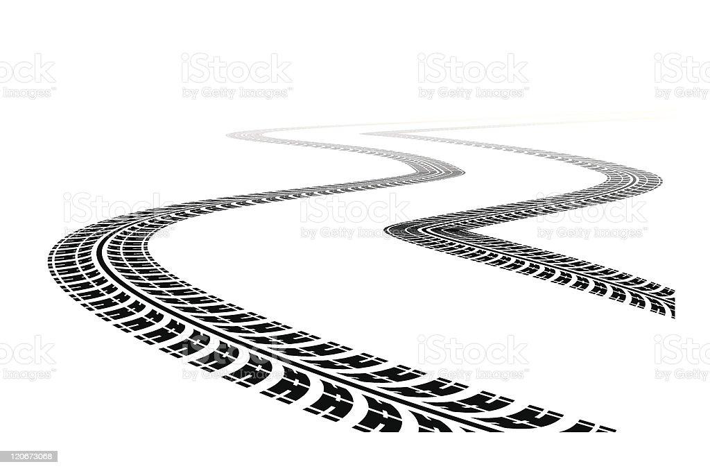 Tire Tracks vector art illustration