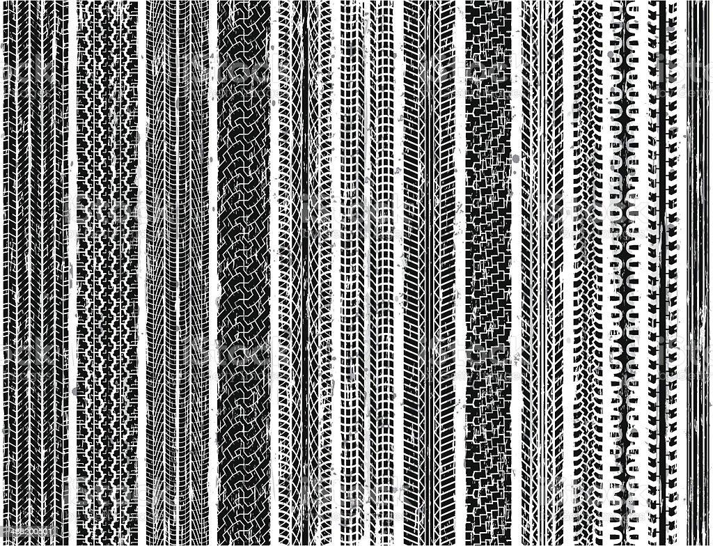 Tire Tracks (Seamless) vector art illustration