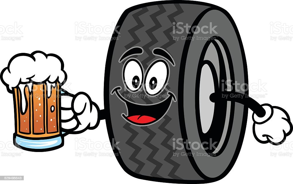Tire with Beer vector art illustration
