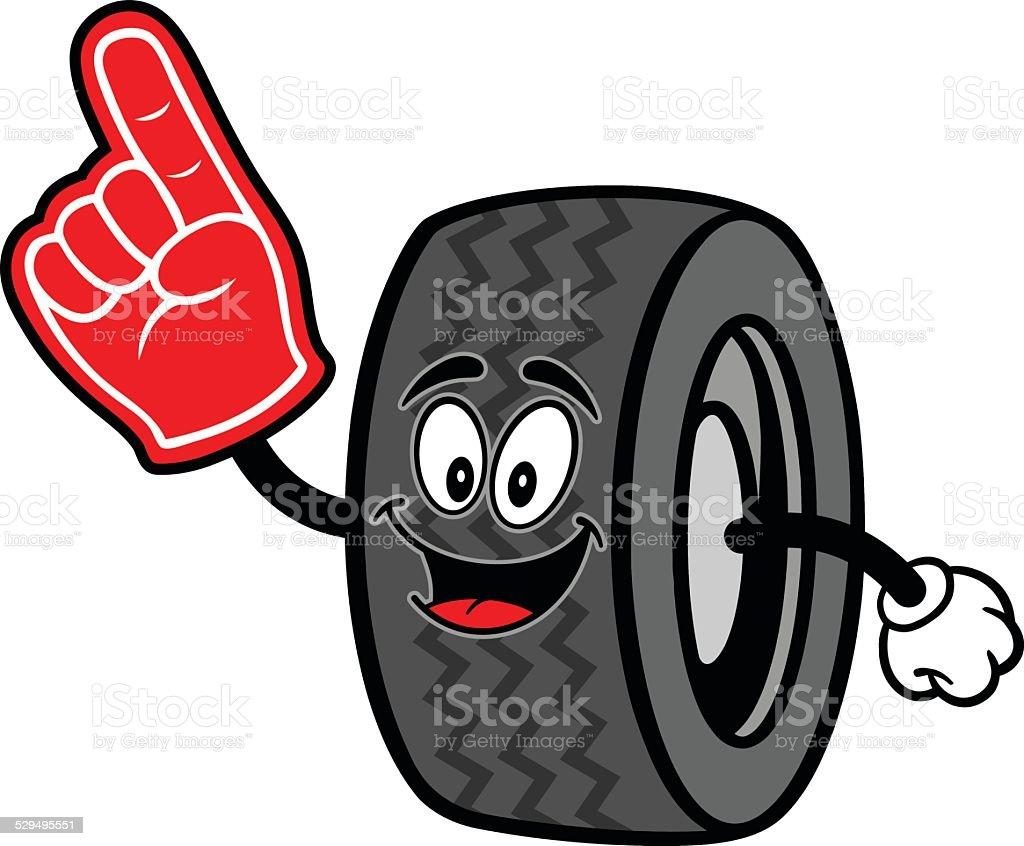 Tire with Foam Finger vector art illustration