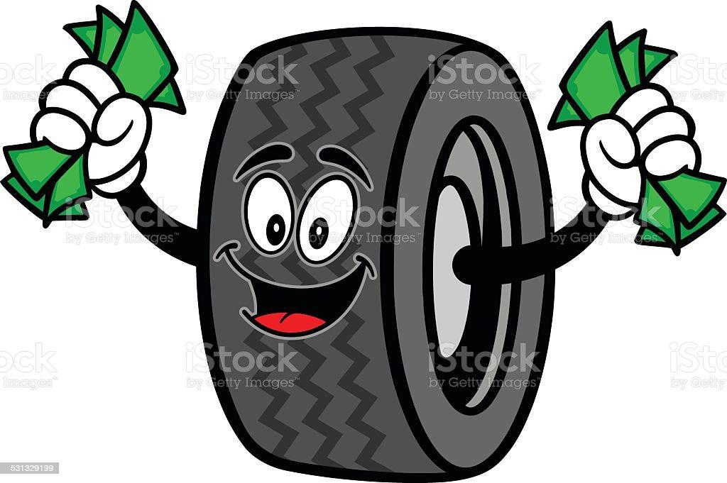 Tire with Money vector art illustration
