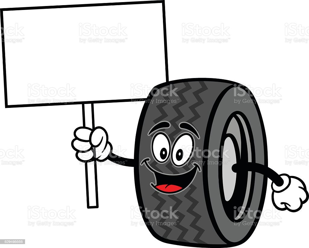 Tire with Sign vector art illustration