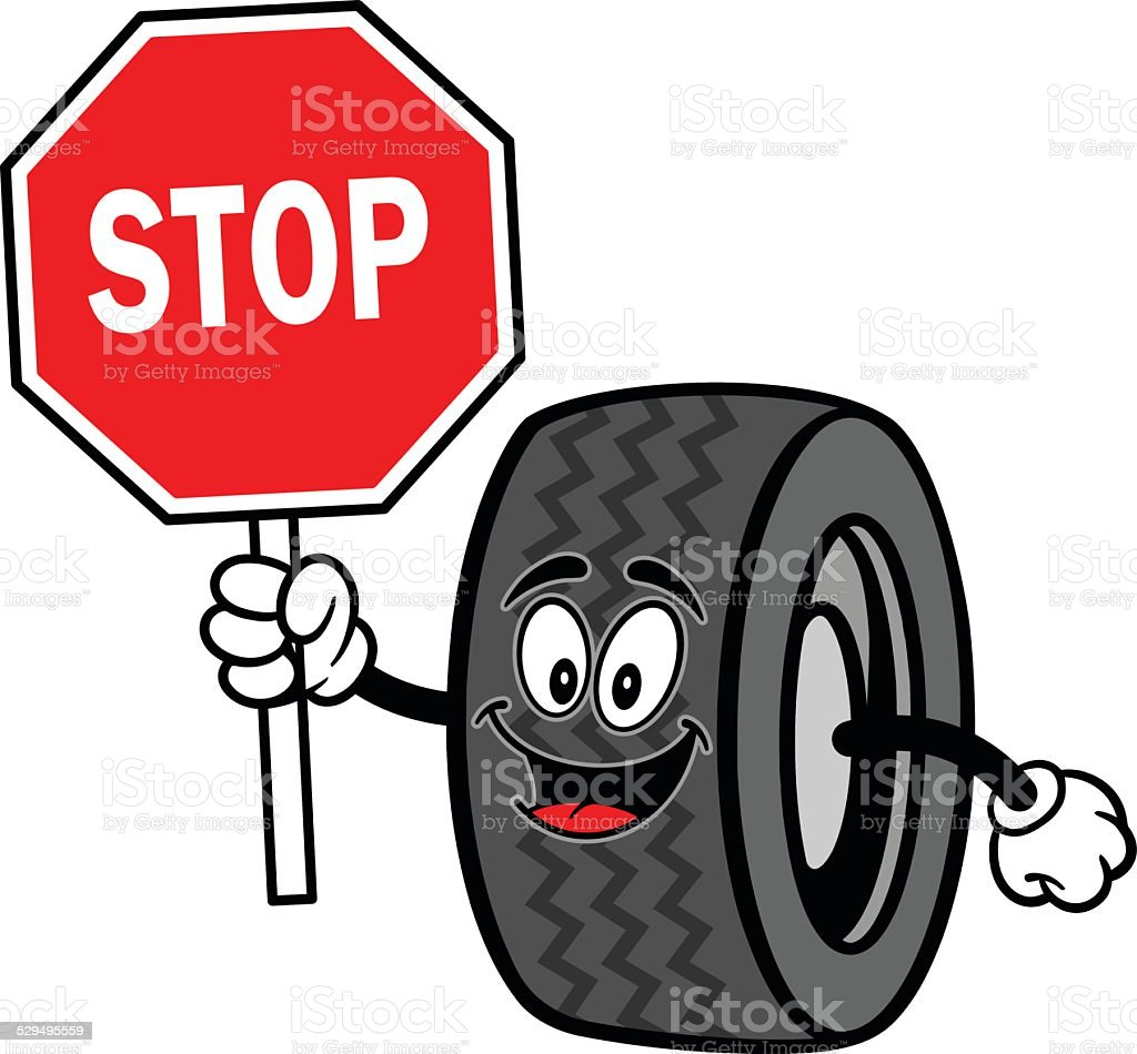 Tire with Stop Sign vector art illustration