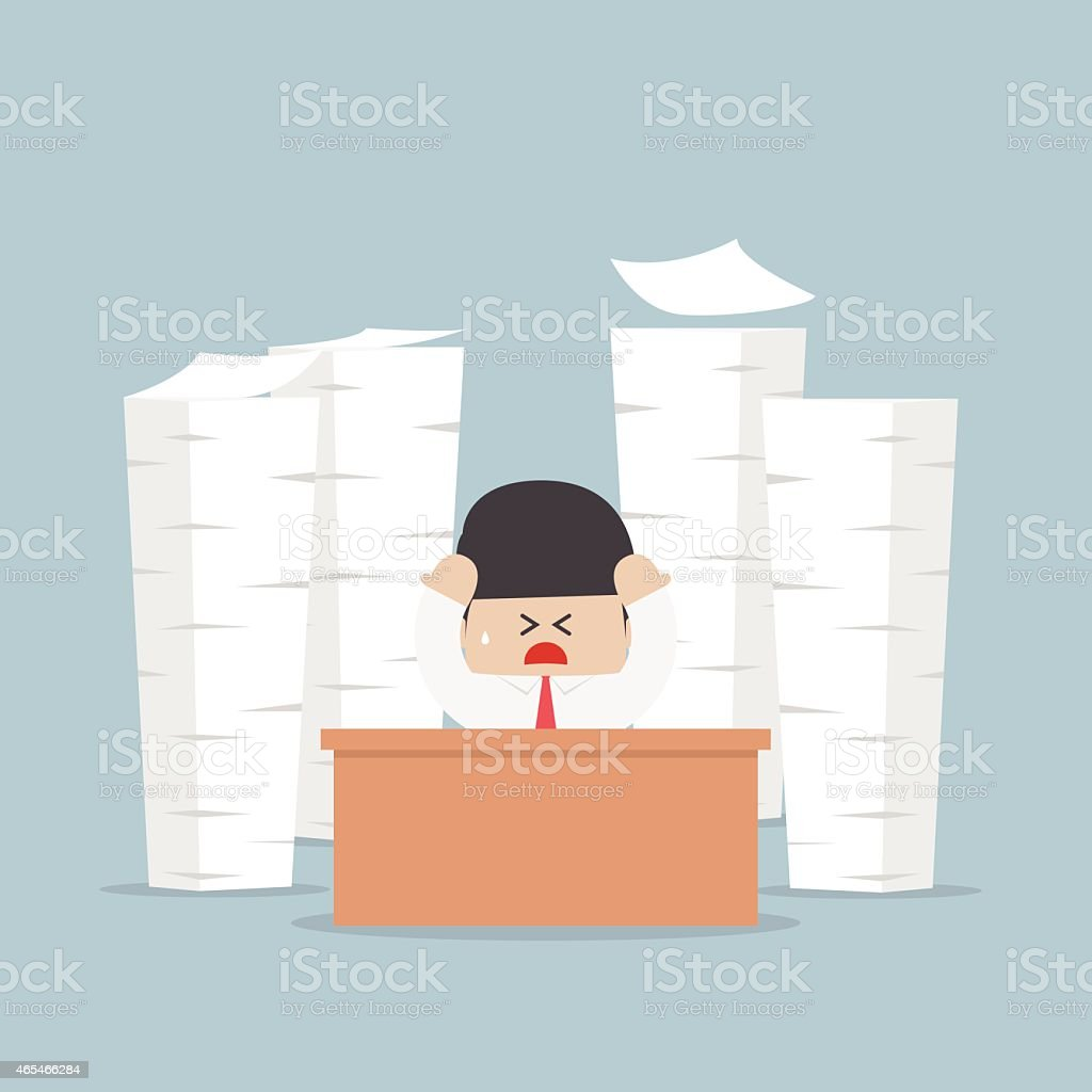 Tired and busy businessman with piles of work to do vector art illustration