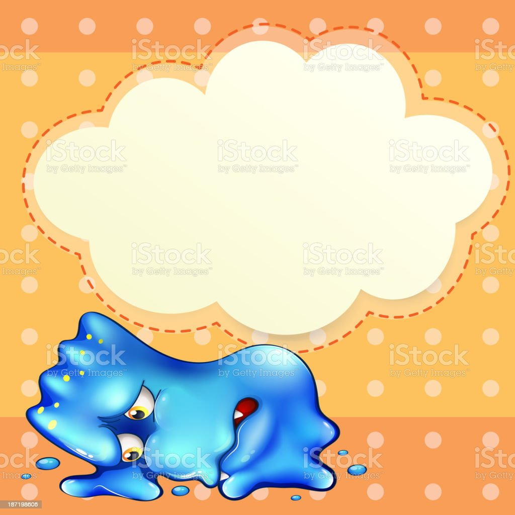 tired blue monster below the empty cloud template royalty-free stock vector art