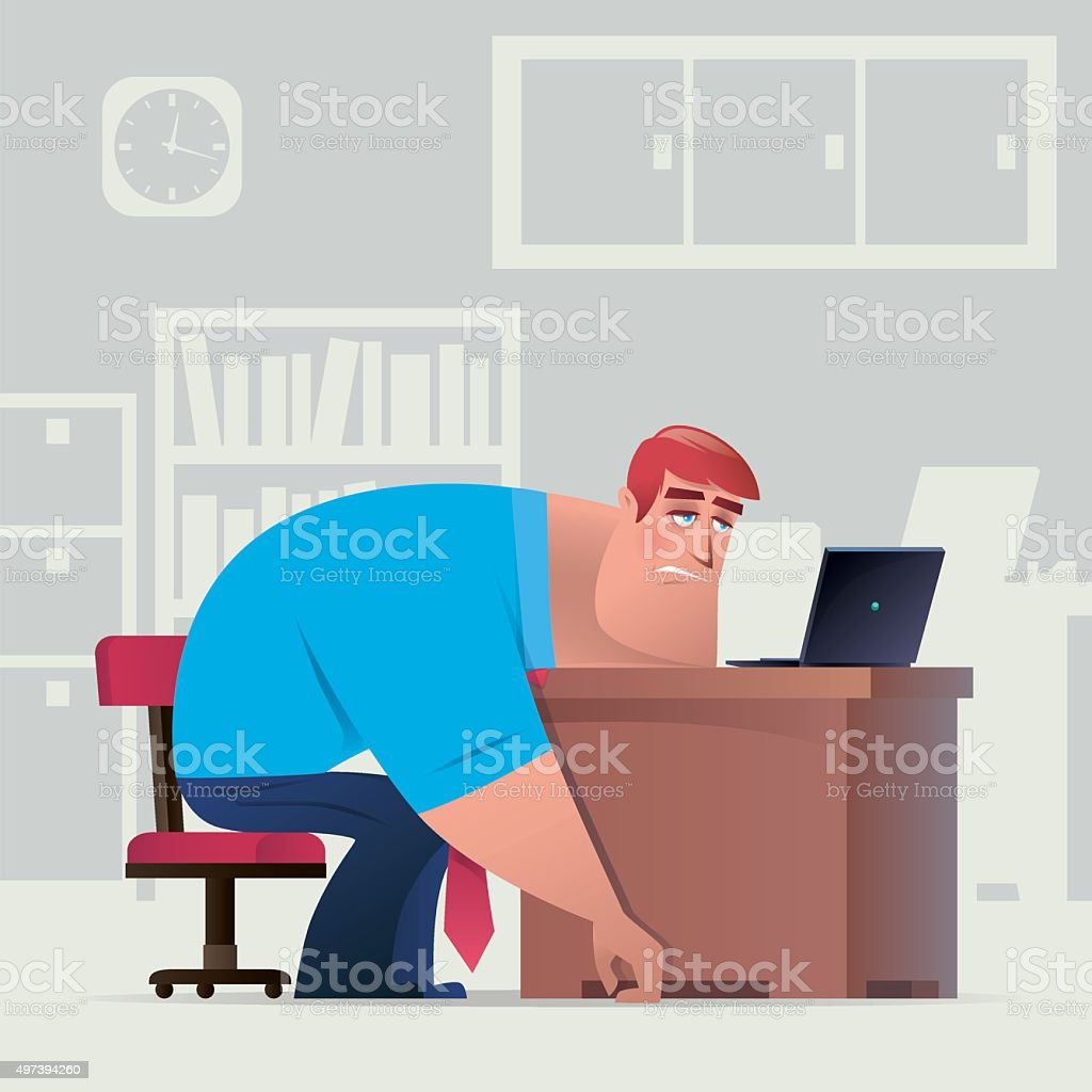 tired business working vector art illustration