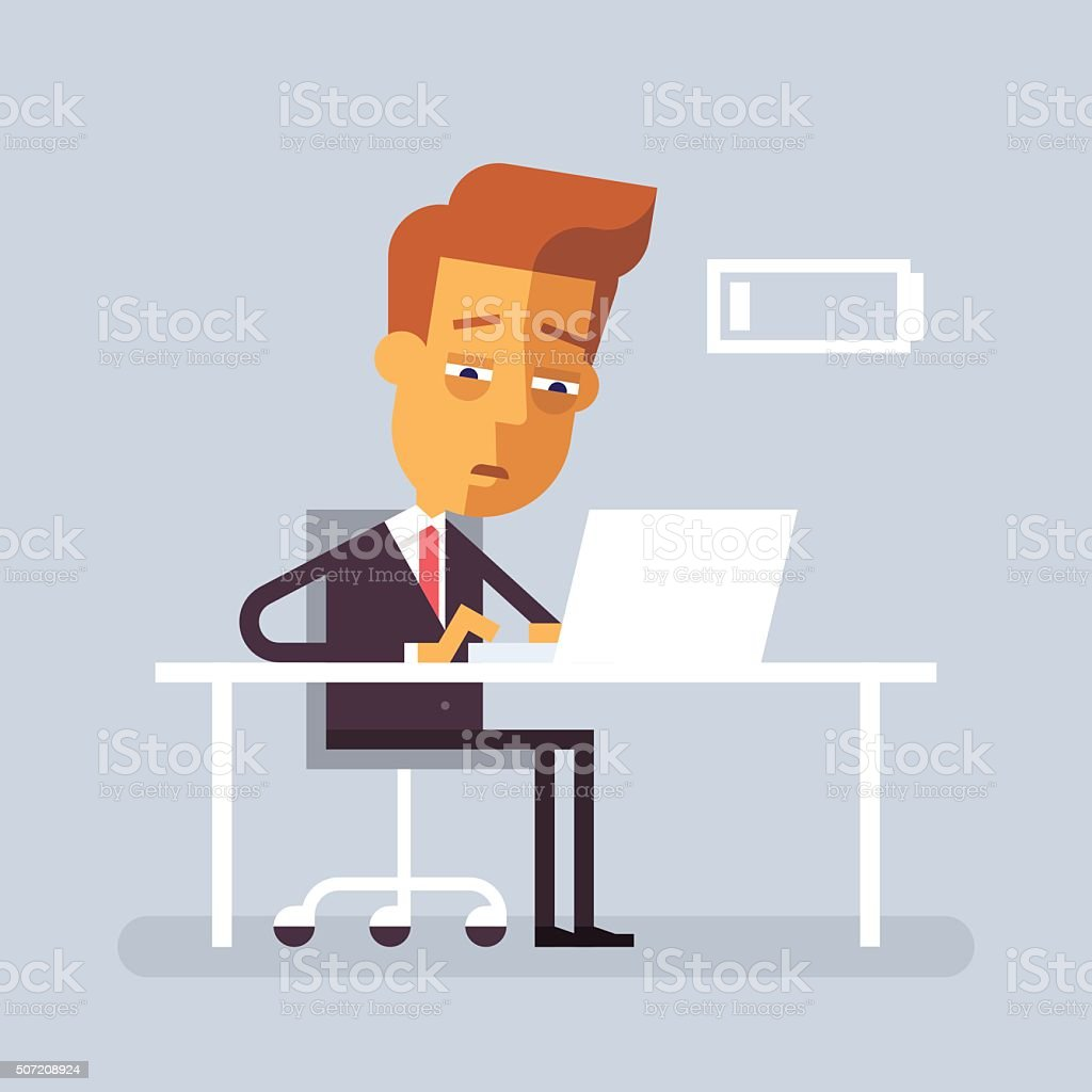 Tired businessman is sitting at the desk. Vector. vector art illustration