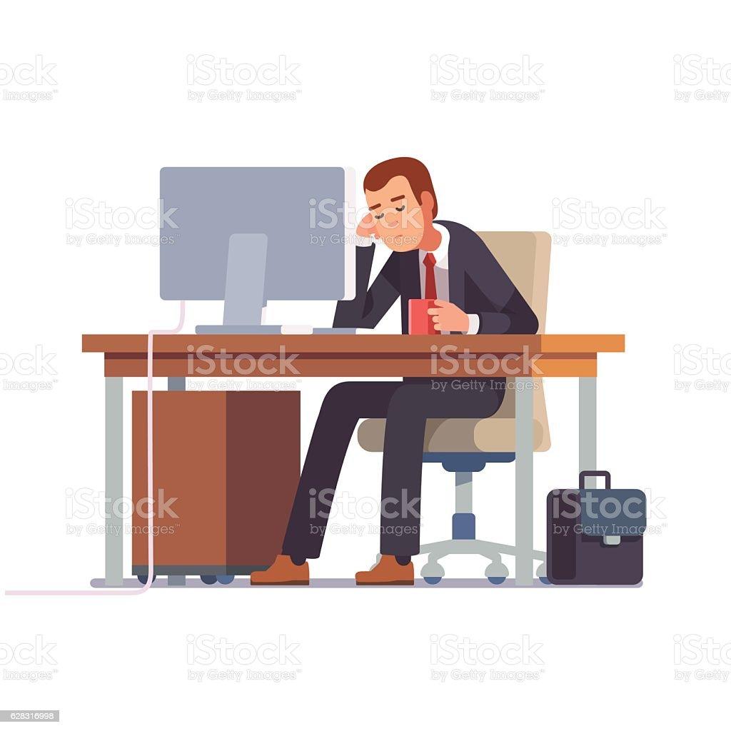 Tired businessman sleeping at his office desk vector art illustration
