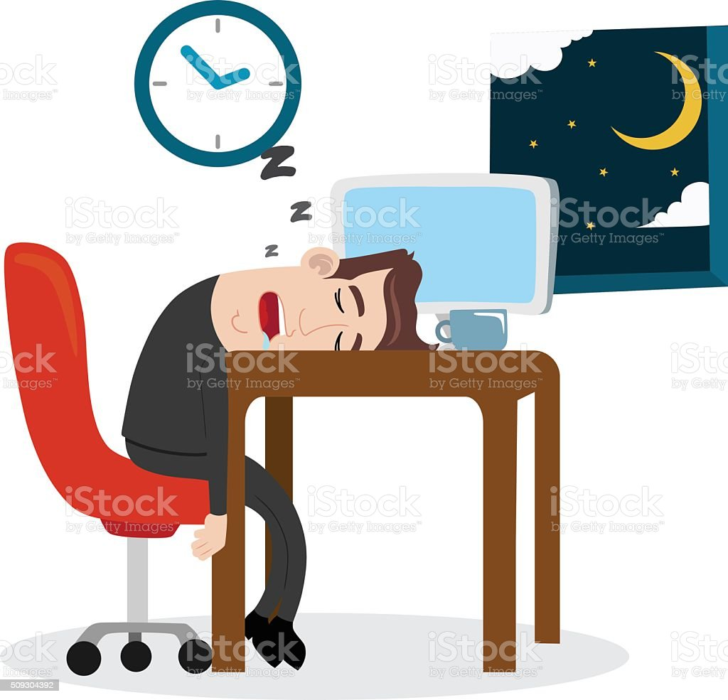 Tired businessman sleeping at work vector art illustration