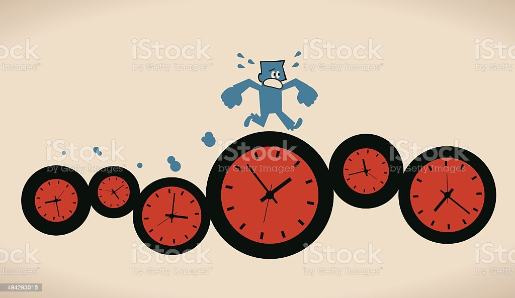 Tired busy businessman running on group of time clocks vector art illustration