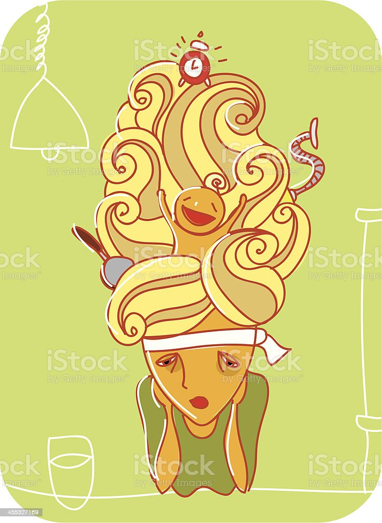 Tired housewife vector art illustration