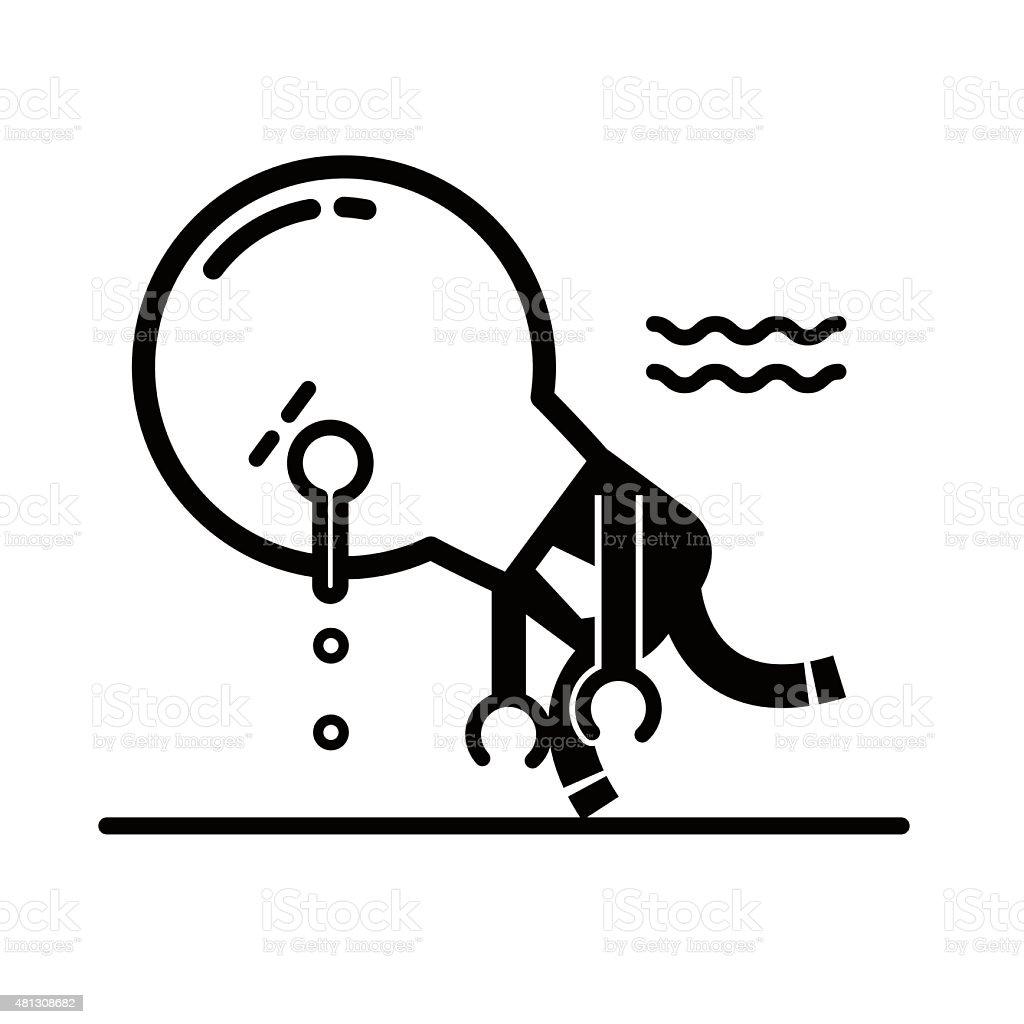 Tired idea light bulb characters sleeping and walking vector art illustration