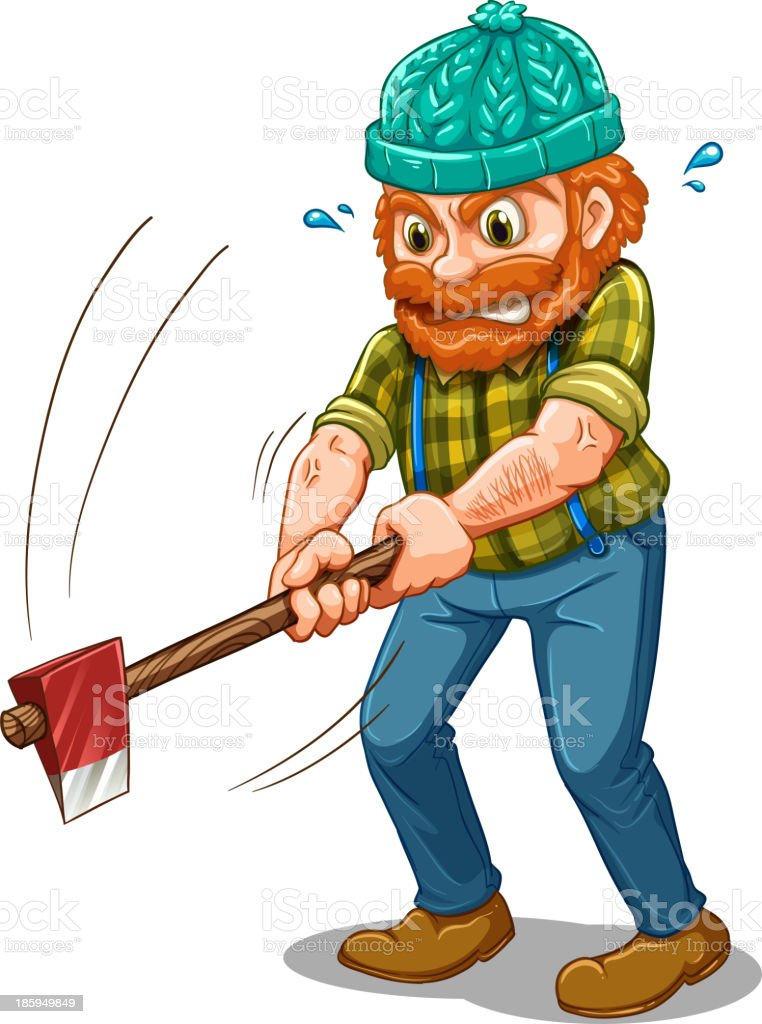tired lumberjack with an axe royalty-free stock vector art