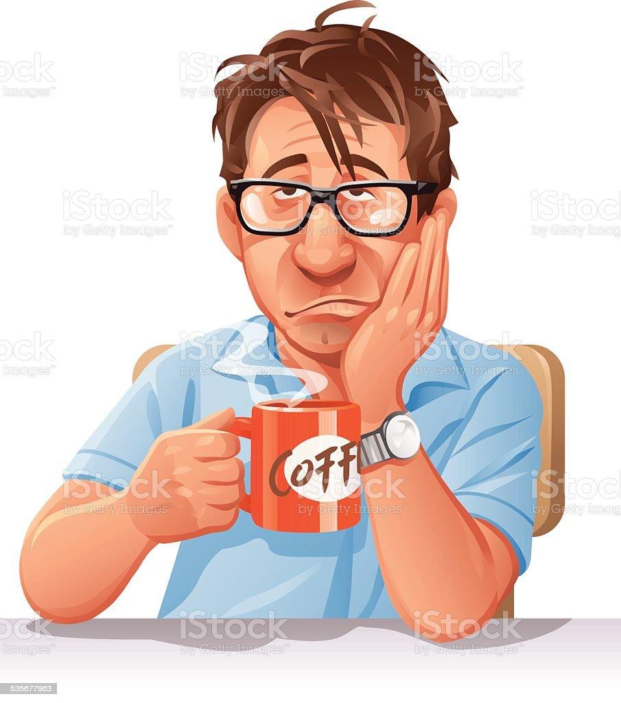 Tired Man Drinking Coffee vector art illustration