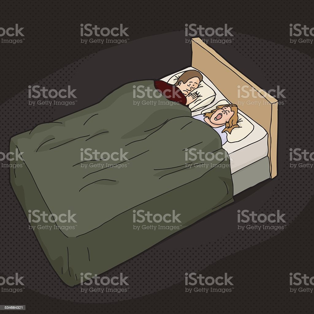 Tired Man with Snoring Woman vector art illustration