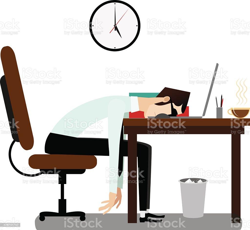 Tired office man sleeping at desk vector art illustration
