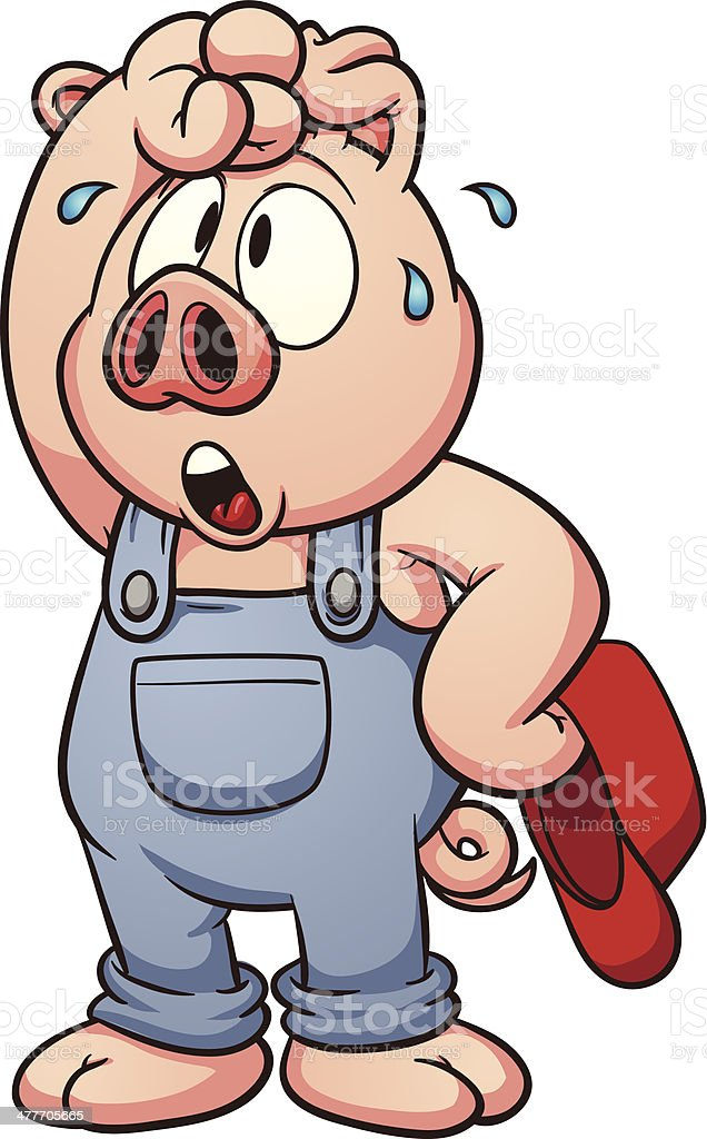Tired pig vector art illustration