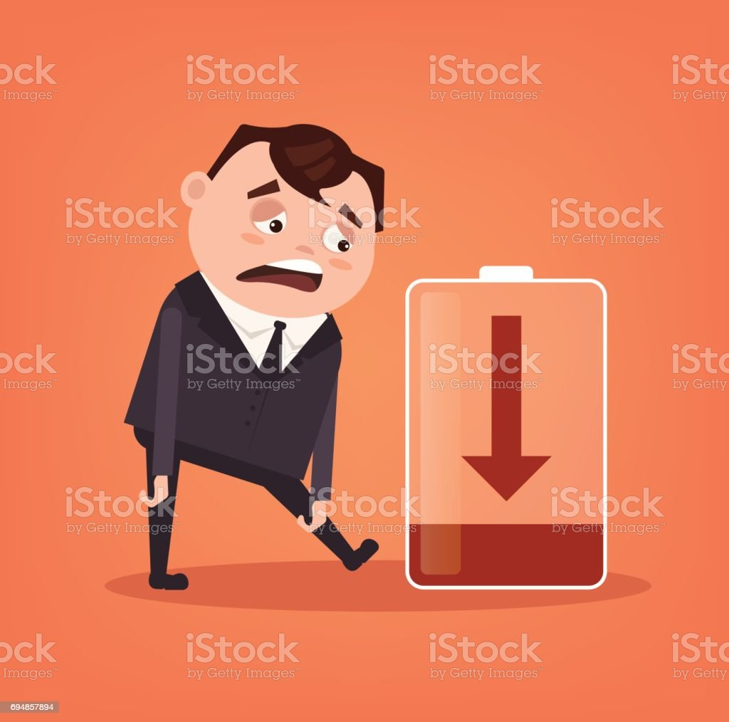 Tired sad office worker businessman character has no energy. Hard work vector art illustration