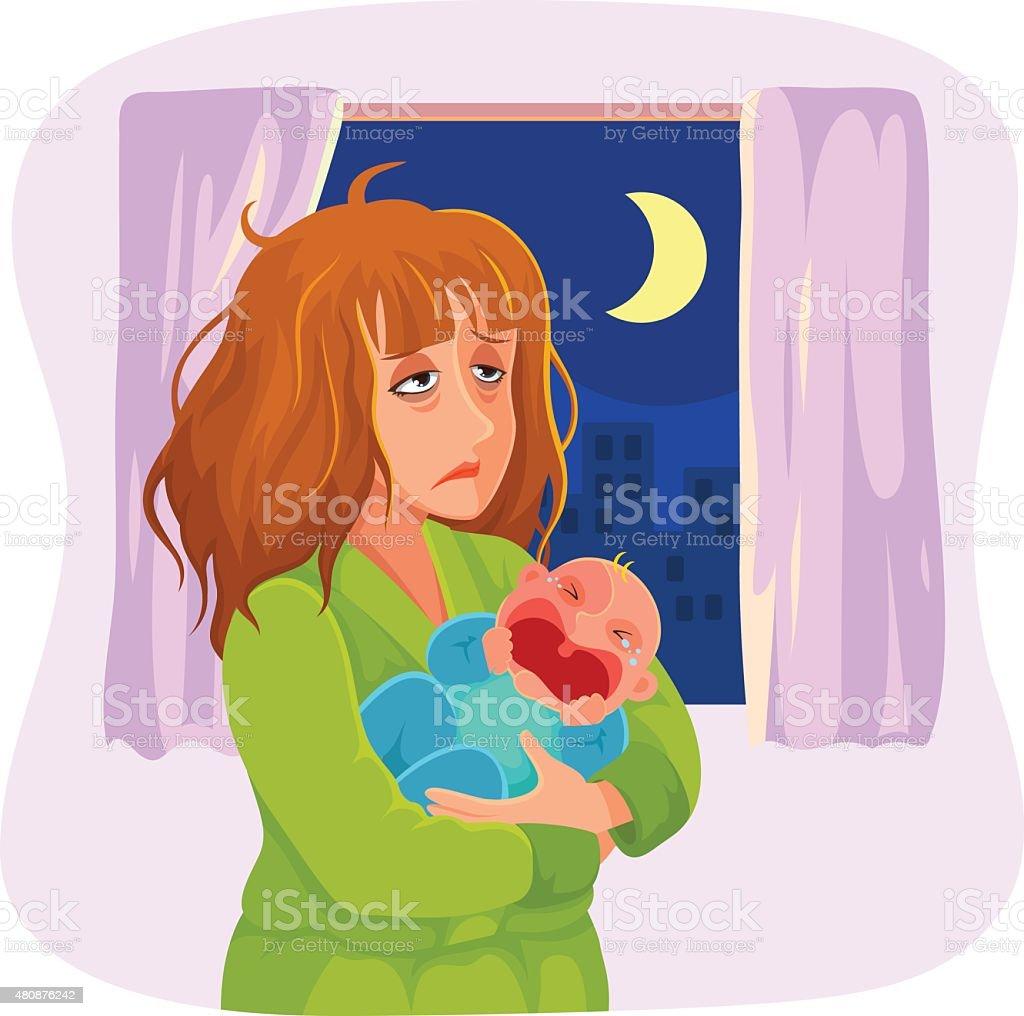 tired sleepy mother vector art illustration