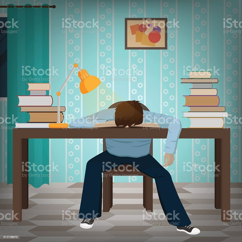 Tired student fall asleep on the book vector art illustration