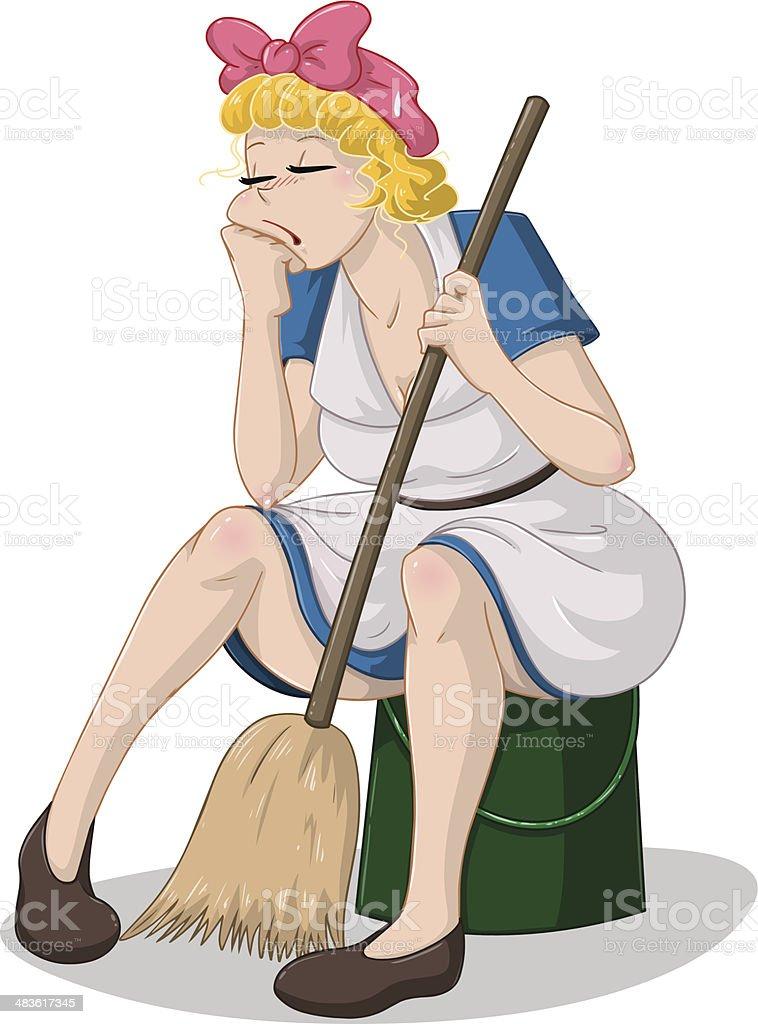 Tired Woman With Broom Sitting On Bucket vector art illustration
