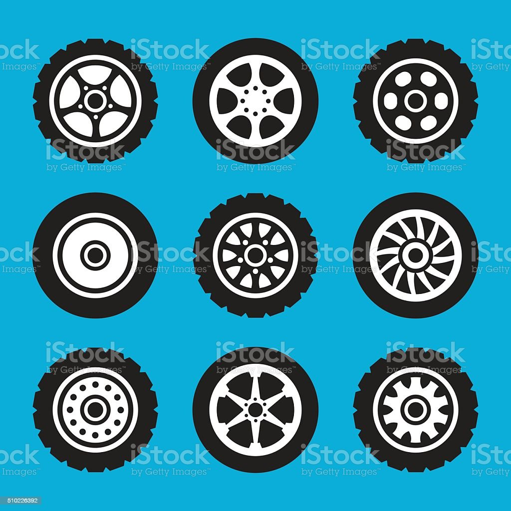 Tires and wheels icons set. Vector icons set vector art illustration