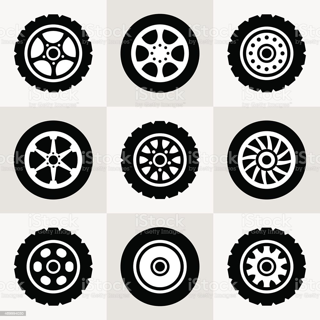 Tires and wheels icons set vector art illustration