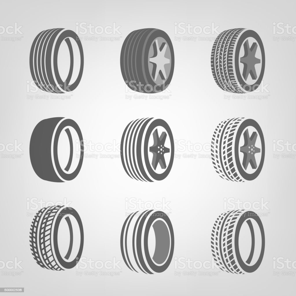 Tires collection vector vector art illustration