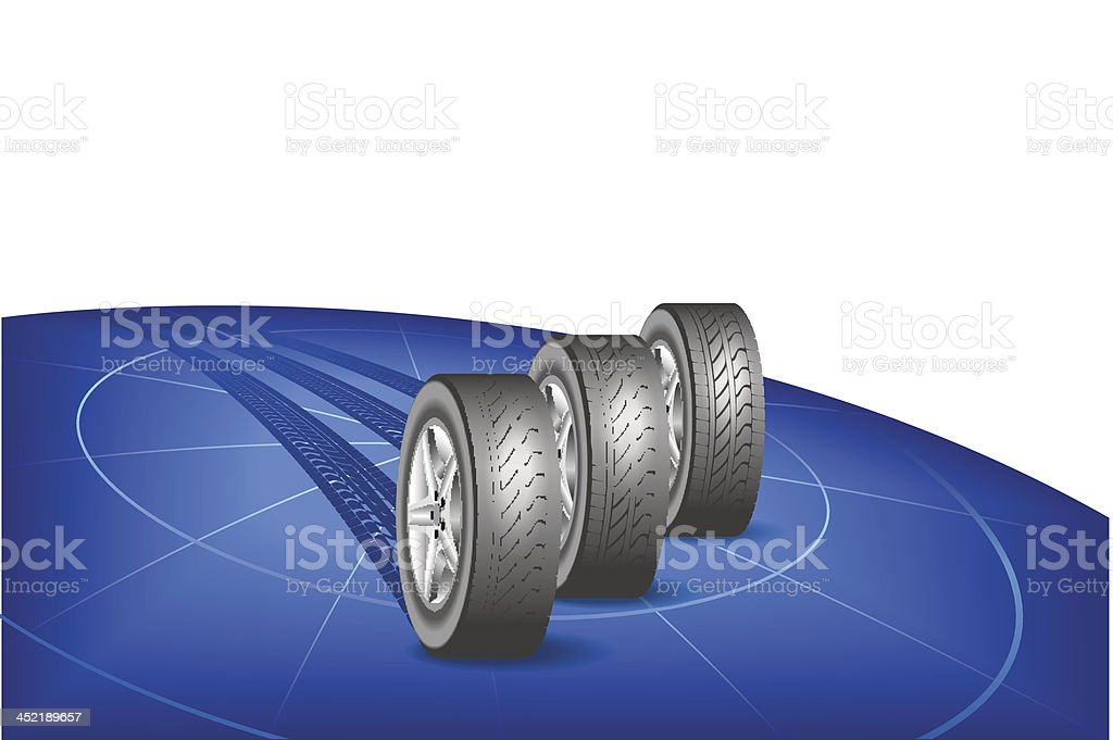 Tires go round the globe. royalty-free stock vector art