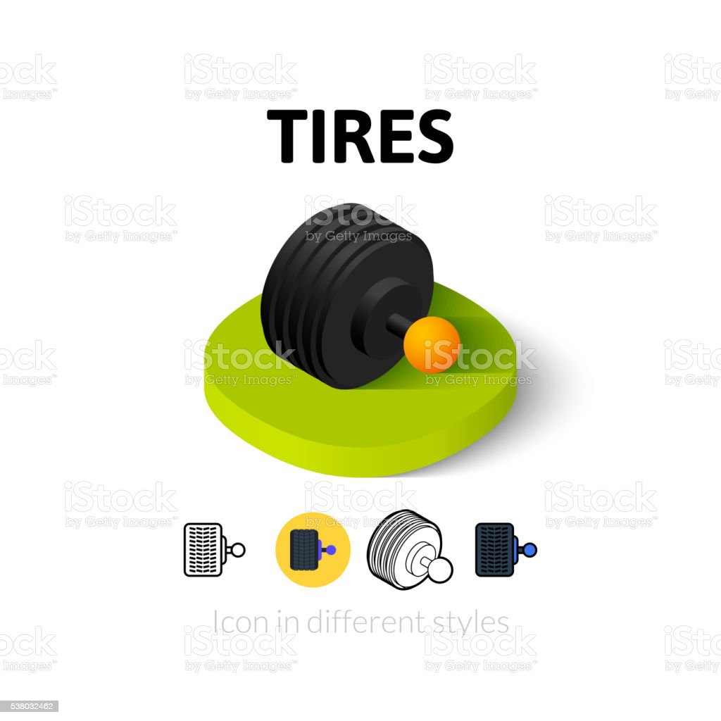 Tires icon in different style vector art illustration