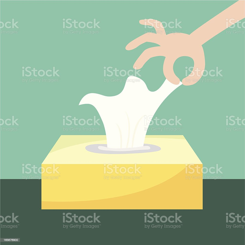 tissue box with hand royalty-free stock vector art
