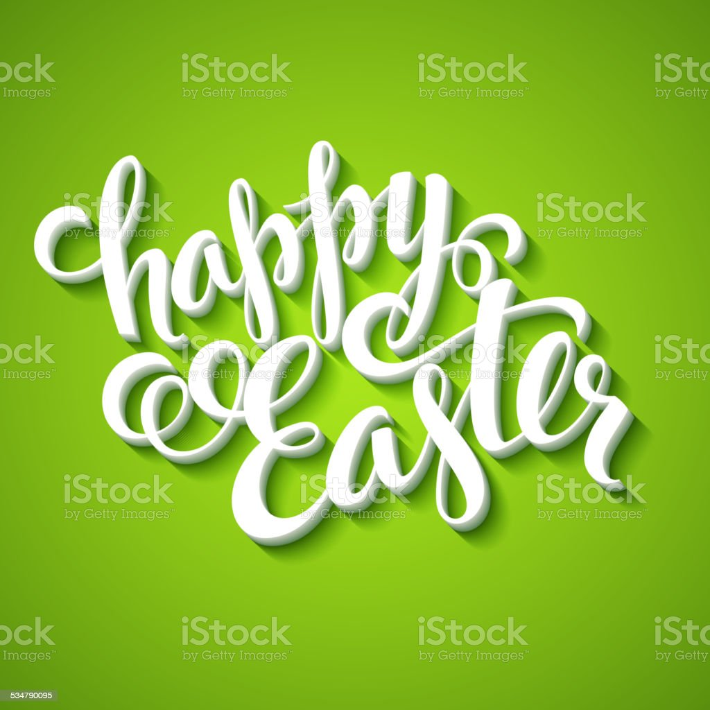 Title Happy Easter. Hand  drawn lettering vector art illustration