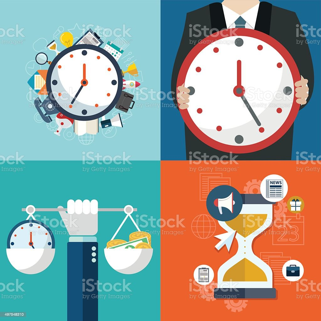 Tme management, targeting, work planning and timing vector art illustration