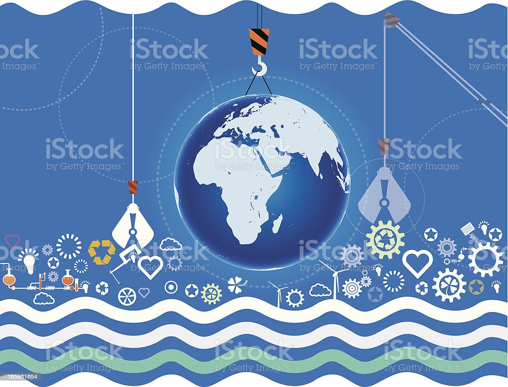 To build the Earth royalty-free stock vector art