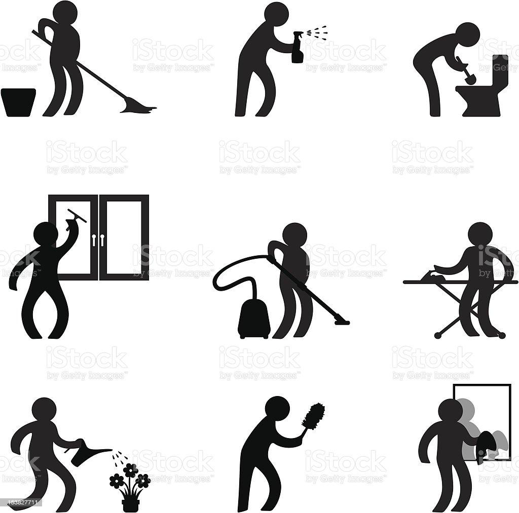 To do housework vector art illustration