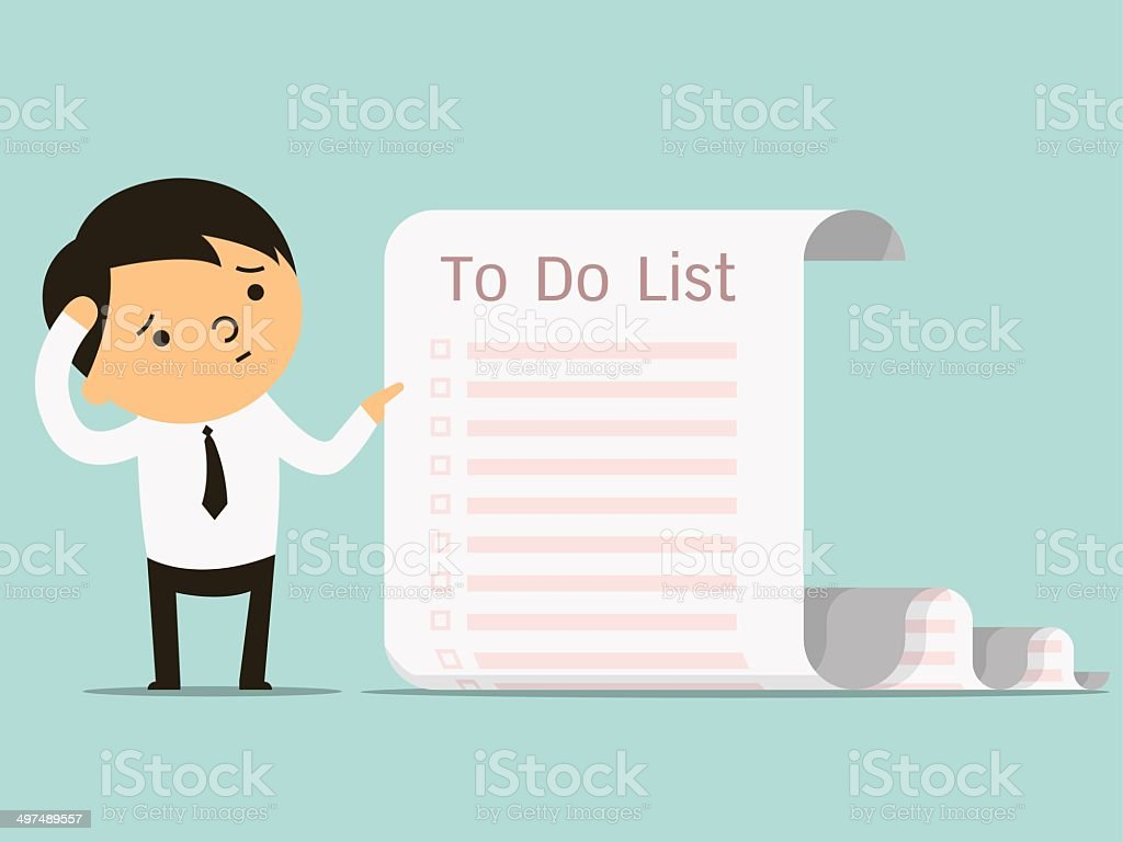 to do list businessman vector art illustration