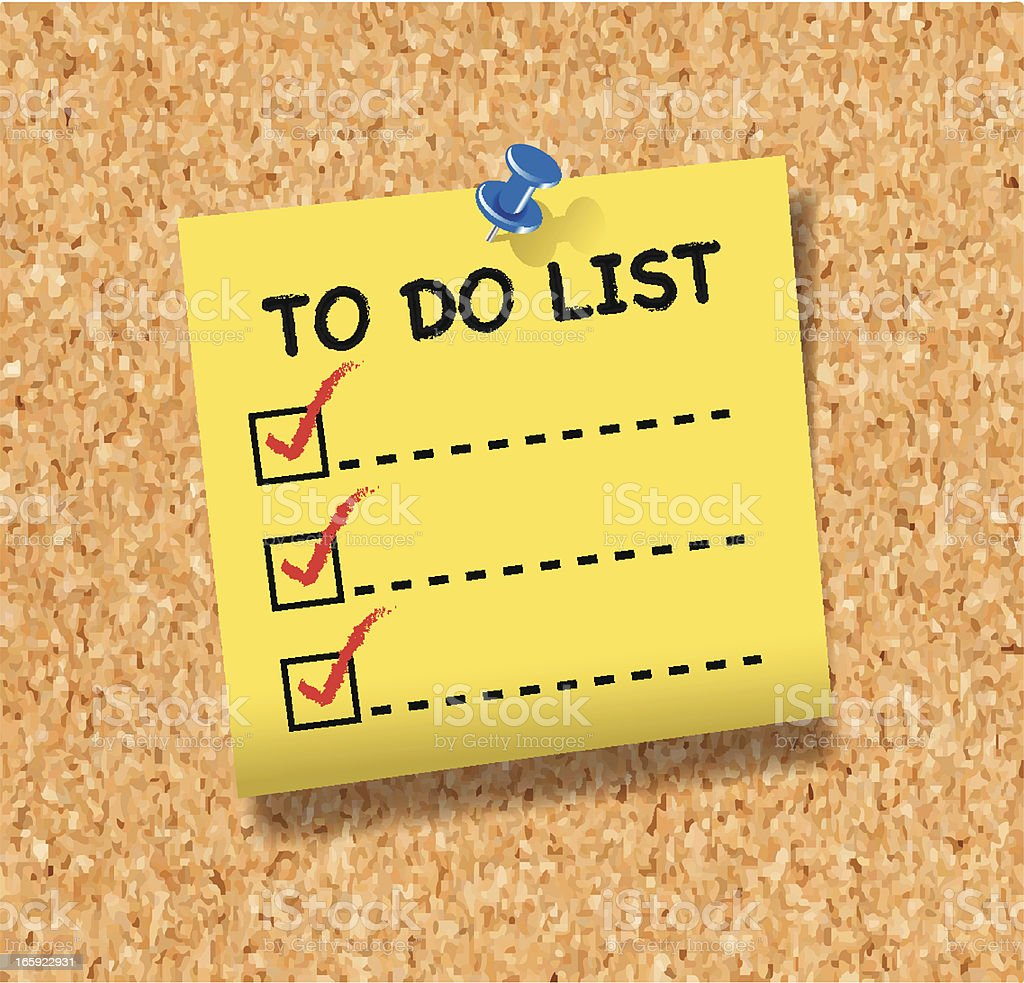 To Do List Note on Cork Board vector art illustration
