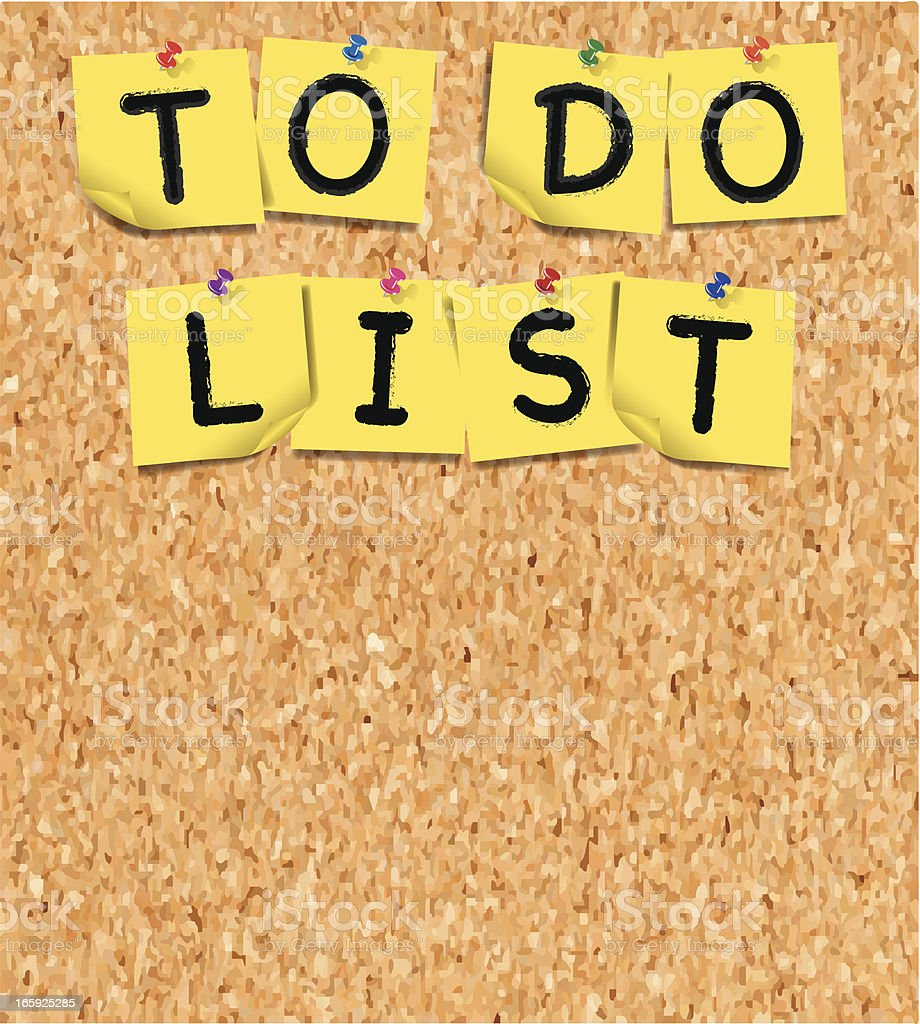 To Do List Notes with Thumbtacks on Cork Board royalty-free stock vector art