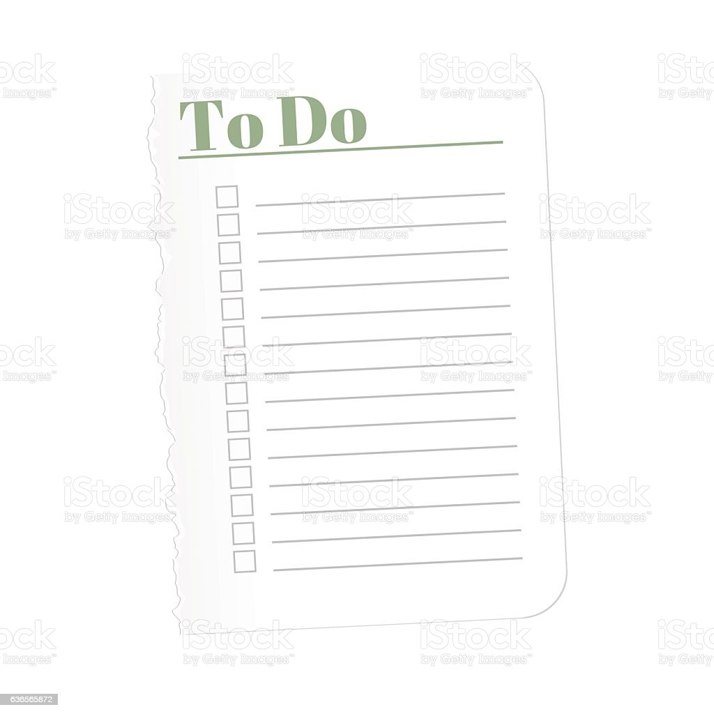 To Do List Torn A Blank Sheet Of Paper Record stock vector art – Blank Sheet of Paper with Lines
