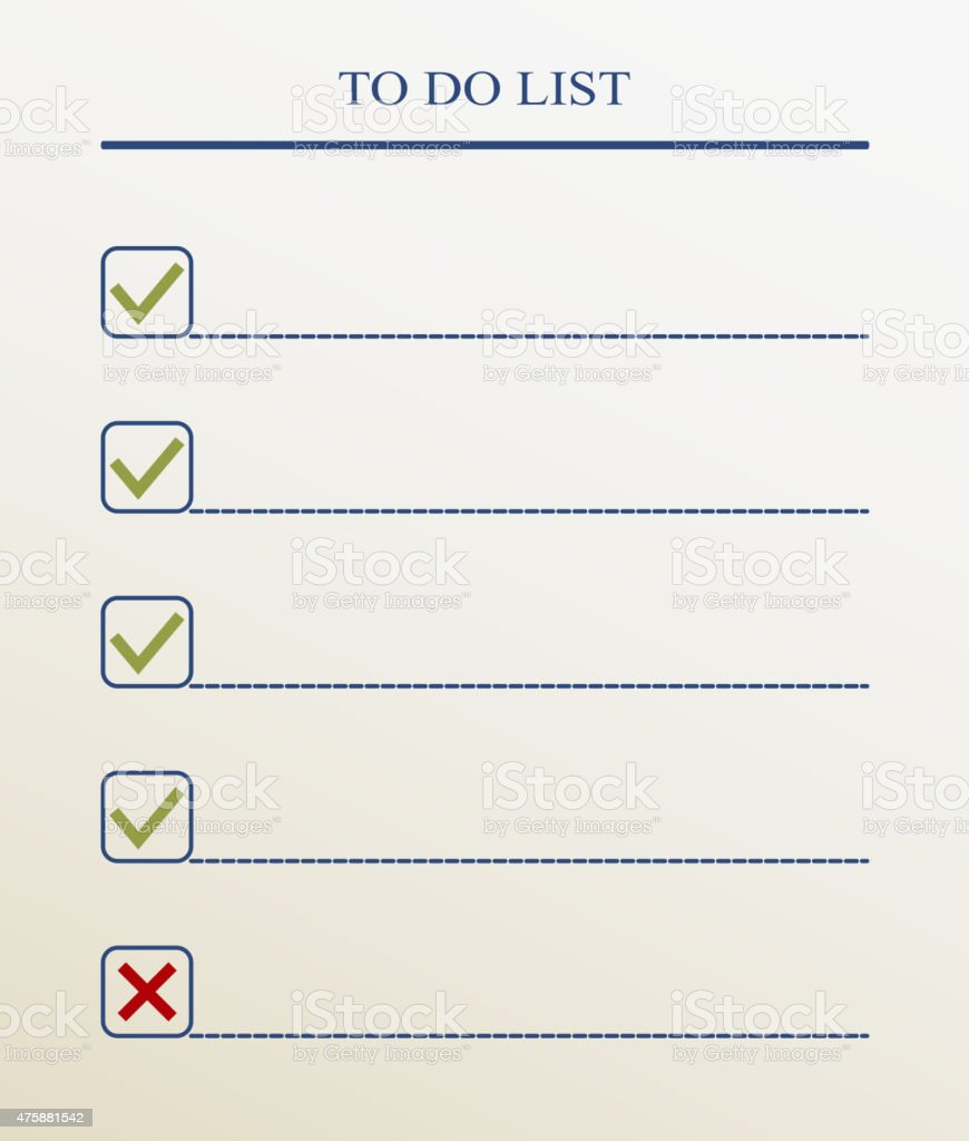 To Do List With Check Mark Vector Format stock vector art – Stock List Format