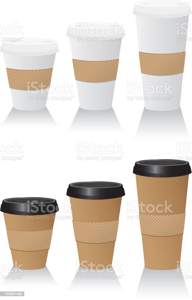 To Go Coffee or Hot Beverage cups in assorted sizes royalty-free stock vector art