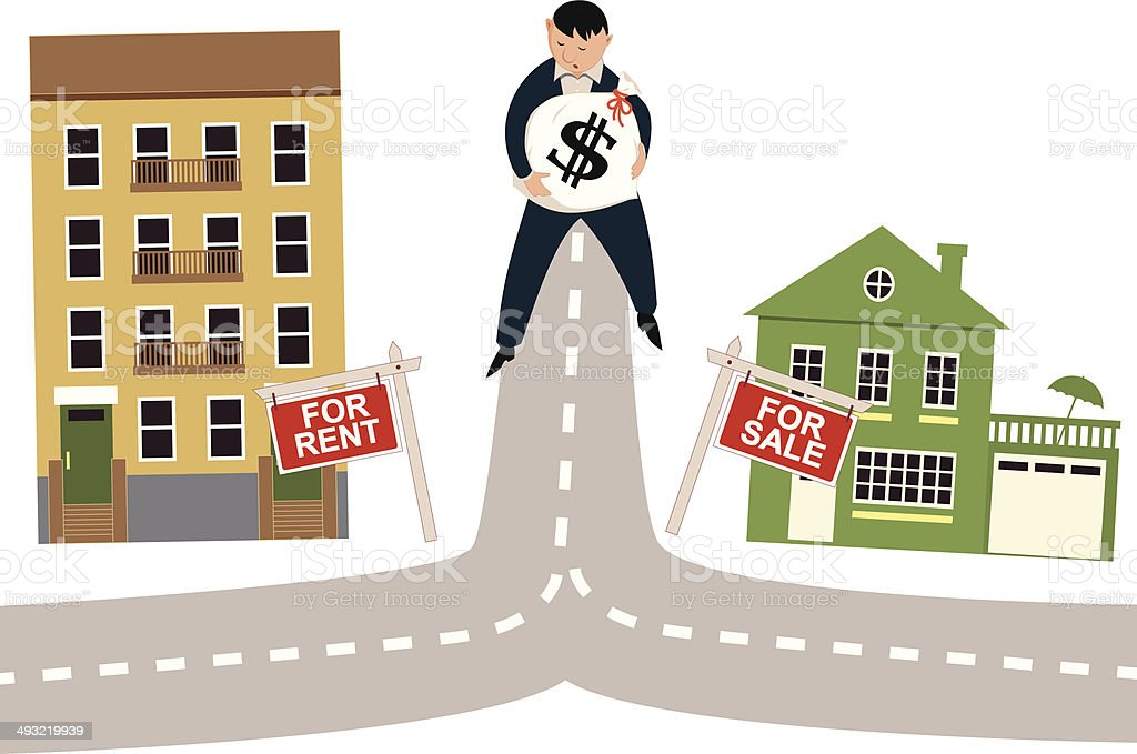 To rent or buy vector art illustration