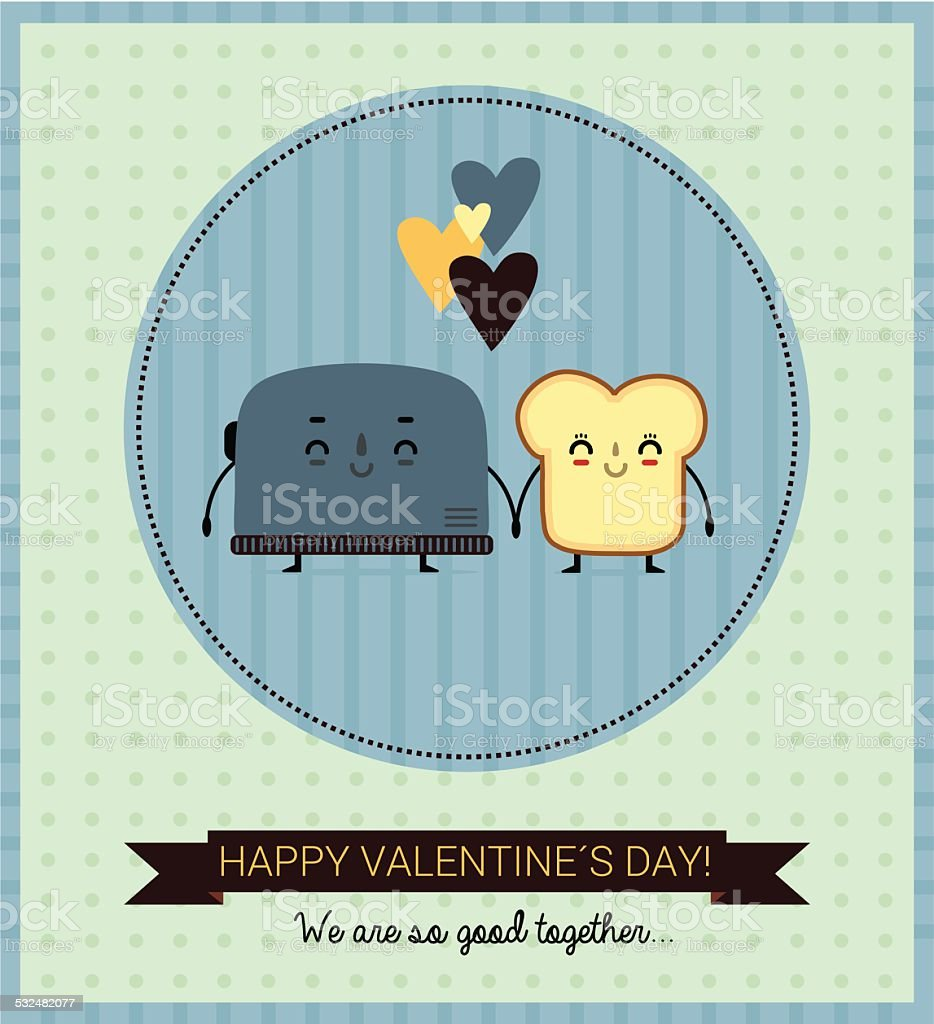 toast and toaster in love vector art illustration