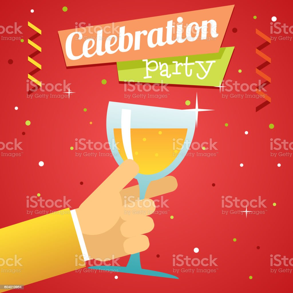 Toast Pledge Celebration Success Prosperity Symbol Hand Hold Glass Drink vector art illustration