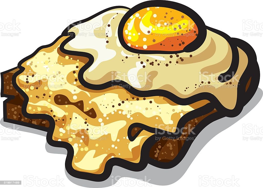 toast with egg and cheese vector art illustration